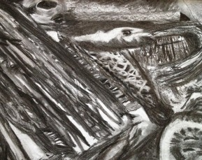 Maculate, charcoal and pencil, approx. 30 x 53 cm