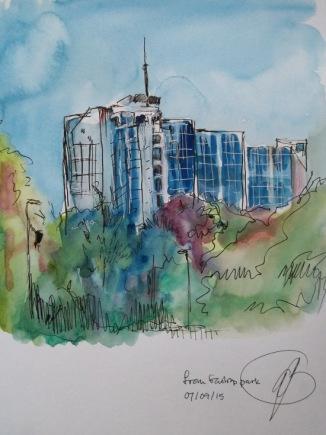 Distinctive blue shiny building - Amanda