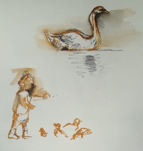 Swan on the lake; small girl feeding the ducks. Eastrop. - Amanda